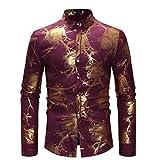 FRAUIT Herren Persönlichkeitsdruck Hemd Vollfarbe Luxus Hemden Gold Stickerei Für Anzug Freizeit Große Größe Lässige Top Bluse Business, Hochzeit, Freizeit Party Atmungsaktiv Bequem S-XL