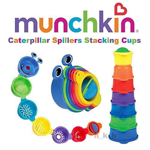 Caterpillar Spillers de Munchkin de 9 m + tazas apilables de juguete de baño sin BPA