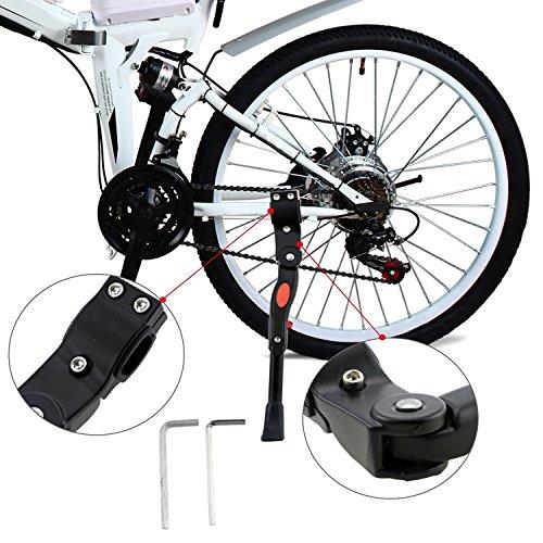 Fahrradständer, WisFox Fahrrad Seitenständer Faltbarer einstellbarer Universal Fahrrad Ständer Fahrradständer mit Anti-Rutsch Gummifuß Aluminiunlegierung für 24-29 Zoll Mountainbike, Rennrad, - 26 Werkzeug Fahrrad