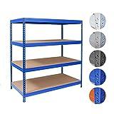 Schwerlastregal Taurus | stabiles Steckregal für Keller, Lager und Garage | Traglast 875 oder 1400 kg | viele Größen | verschiedene Farben | 160x150x60 cm – blau