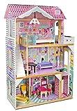 Leomark Exclusive Residence Villa delle bambole del legno a 3 piani con un ascensore.+ mobili e accessori Casa delle bambole in legno Dimensioni: 83 x 34 x 121 cm.