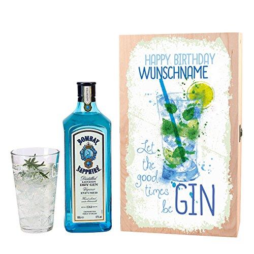 Bombay Sapphire Gin Geschenkset - Let the good times be Gin - mit 1 l Bombay Sapphire und graviertem Glas zum Geburtstag mit Wunschnamen