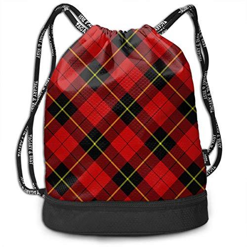 Juziwen Red Tartan Plaid Large Drawstring Sport Backpack Sack Bag ()