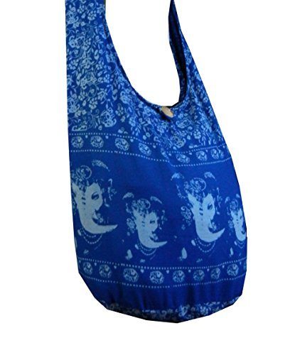! Ganesh (Ganesha) Hindu Elephant God Thai Hippie Hobo Umhängetasche Umhängetasche, Blau (Blue Gn5), Large ()