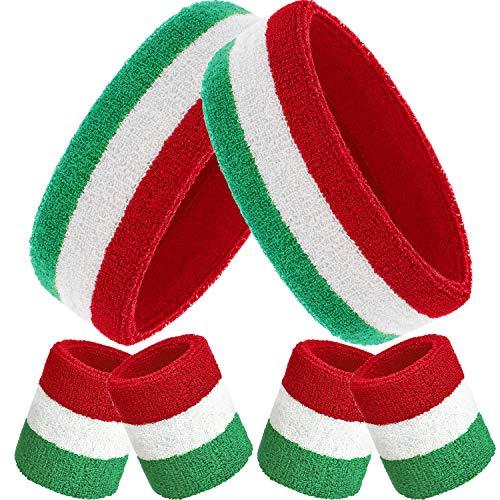 Bememo Schweißbänder Set, Enthaten Sport Stirnband und Schweißbänder Bunt Handgelenk Schweißband aus Baumwolle für Männer und Damen (Rot Weiß und Grün, 6 Stücke)