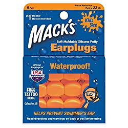 Macks Soft Moldable Silicon Earplugs Kids Size 6 Pair (Pack of 4)