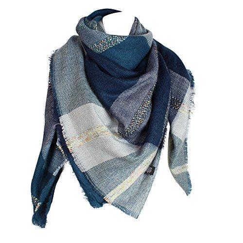 Glamexx24 XXL Schal Kuschelige, warme und wunderschöne Damen Poncho Schal mit verschiedenen Muster Schal Poncho, 3 Blau Grau, One size