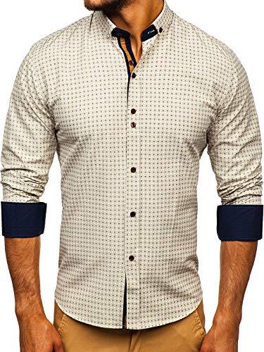 BOLF Hombre Camisa de Manga Larga Cuello Americano Camisa de Algodón Slim fit Estilo Casual 9708 Beige...