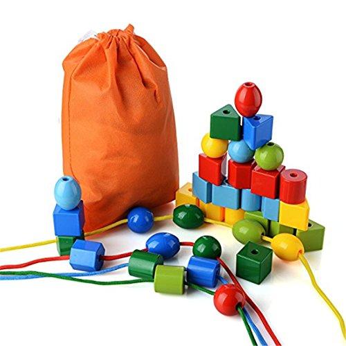 SUNEVEN 32Pcs Schnürungsperlen, Jumbo Primary Stringing Bead Set Ungiftige Kunststoffbausteine für Kleinkinder und Babys Montessori-Lernspielzeug enthält 3 Saiten und Tragetasche