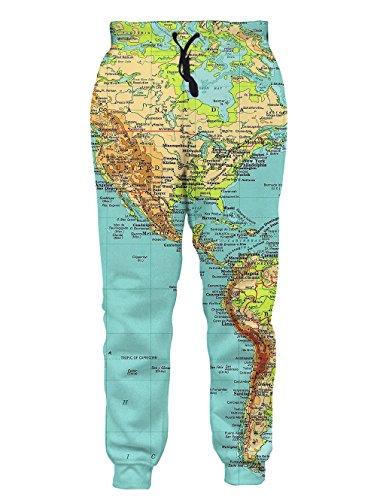 Leapparel Unisex Weltkarte Design Hipster Stilvolle Jogging Hose Sweatpants M