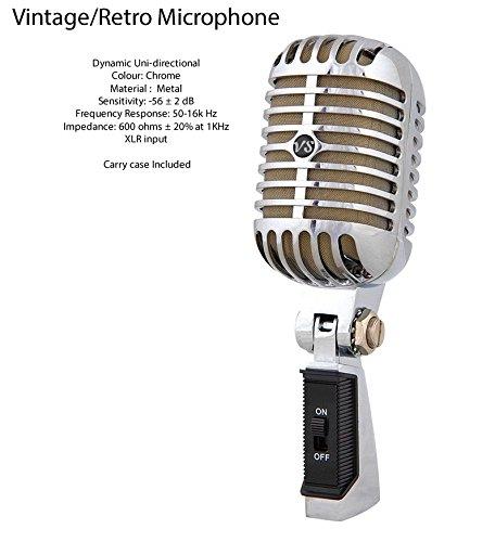 Vocal-Star cromo efecto plata Retro estilo Vintage micrófono y funda de transporte