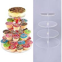 Befied Acryl Tortenständer Plexiglas Kunchenständer Mehrschichtige Muffin Cupcake Ständer Party Hochzeit Geburtstag (4-stoeckig)