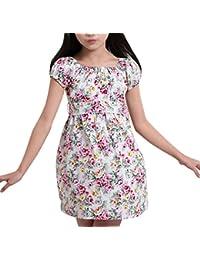 Vestito Bambina Principessa Da Ragazza Floreale Girocollo Abiti Per La  Cerimonia Di Sera Elegante Manica Corta 8479406140f