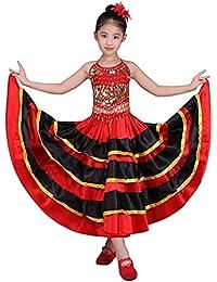 Falda de baile flamenco para niñas Traje de círculo de 360 grados Danza  española Falda de toro (9-11 años 8f01f331cab1
