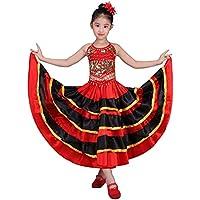 Falda de baile flamenco para niñas Traje de círculo de 360 grados Danza  española edd6523302f3