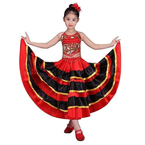 (DREAMOWL Mädchen-Flamenco-Tanz-Rock-360 Grad-Kreis-Kostüm-Spanisch tanzt Stier-Rock (134-146, 540 Grad))