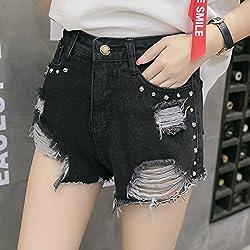 QNQA Damas denim shorts verano personalidad agujero negro gato suave brillante hembra denim shorts vaqueros todo el partido,Black,XL