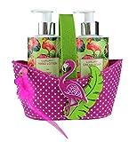 Flamingo Seife & Handcreme im Spender für einfaches dosieren (2x250ml) Geschenkset, liebevoll verpackt im Geschenkkörbchen aus Filz mit Flamingo-Applikation. (3,98 EUR / 100ml)