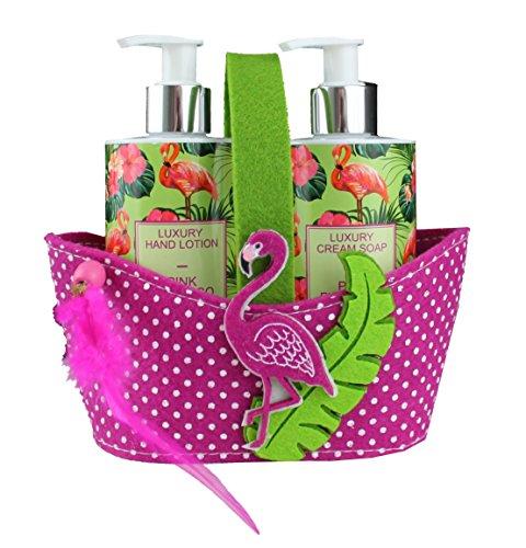 (Flamingo Seife & Handcreme im Spender für einfaches dosieren (2x250ml) Geschenkset, liebevoll verpackt im Geschenkkörbchen aus Filz mit Flamingo-Applikation. (3,98 EUR/100ml))