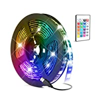 LED Light Strip,Baytion 16 Color Changing Waterproof Strip Lights with Remote Control, for TV/Bedroom/Home Decoration/Party/Bar and Outdoor, 5050 RGB (2M)