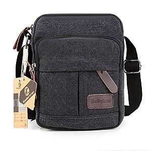 Koolertron Fashion Men's Retro lightweight Small Canvas Cross Body Everyday Satchel Bag (17 cm (W) x 23 cm (H) x 5 cm (D), black)