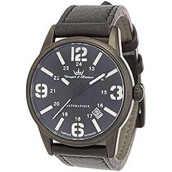 Yonger & Bresson-YBH 8351-33-X-trem Analog-Watch Men-Automatic-black dial-Black Leather Strap