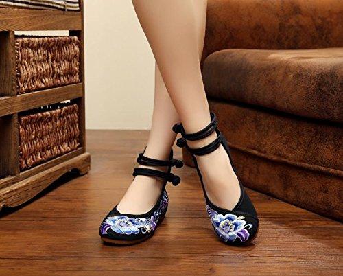 Art Segeltuchschuhe Femaleshoes amp;hua Art Sehnensohle Ethnischer Weise Und Weiche Schuhe Bequeme Beiläufige Gestickte Black Unterseite O0wO84qp