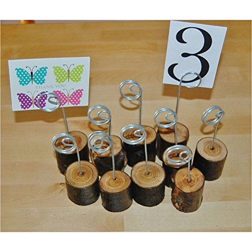 NUOLUX Wooden Base Memo Photo Holder Card Paper Note Clip Wedding Place Name Card Holders 6pcs