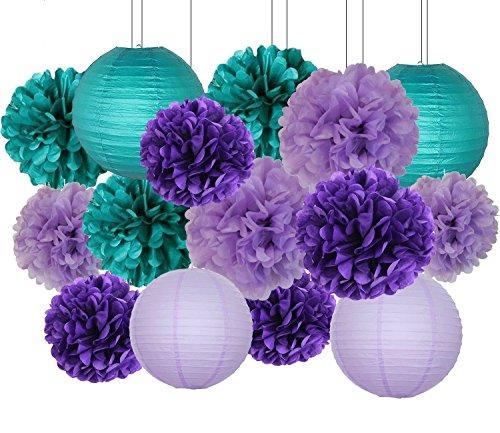 16 stücke Teal Lavendel Lila 10 zoll 8 inch Seidenpapier Pom Pom Papierlaternen für Geburtstag Decor Baby Shower Dekorationen (Lila Baby-dusche Dekorationen Und Teal)