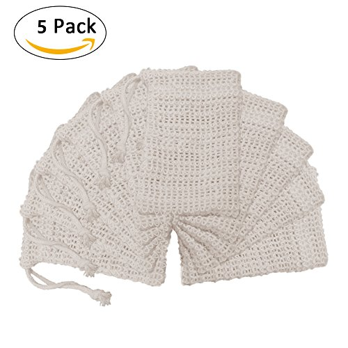 BETTERLE 5 PCS natur Leinen Seife Tasche, Dusche Bad Seife Mesh Bag Peeling Bubble Foam Seife Saver Beutel Halter