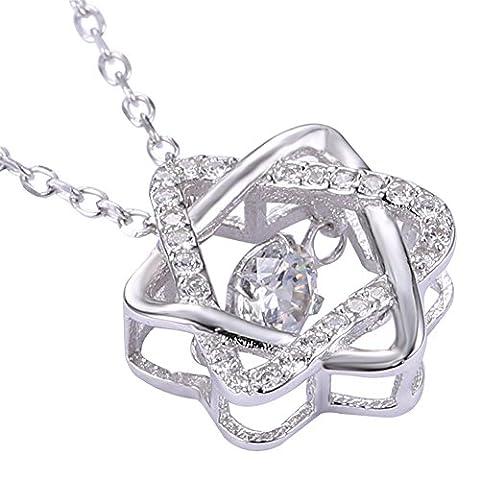 chanceux chaîne zircon bijoux collier pendentif en cristal star océan collier argent brillant pour les femmes