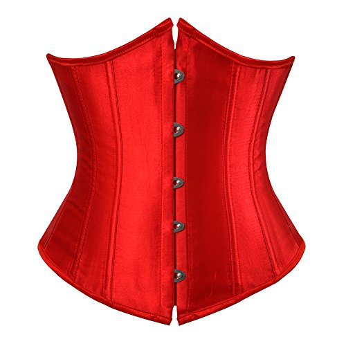 Low Back Korsett (Grebrafan Damen Unterbrust Satin Lace Up Boned Waist Cincher Corsage Top Shaper Bustier Grosse grösse (EUR(44-46) 4XL, Rot))