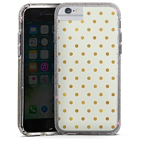 Apple iPhone 8 Bumper Hülle Bumper Case Glitzer Hülle Dots Punkte Gold Bumper Case Glitzer rose gold