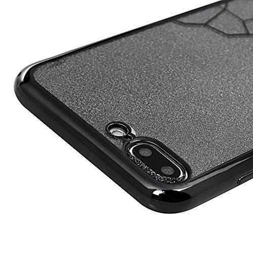 "MAXFE.CO TPU Silikon Hülle für iPhone 7 Plus 5.5"" Handyhülle Schale Etui Protective Case Cover Rück mit Überzug Rahmen Hülle Bling Schwarz Skin TPU Kantenschutz Schutzhülle Schwarz"