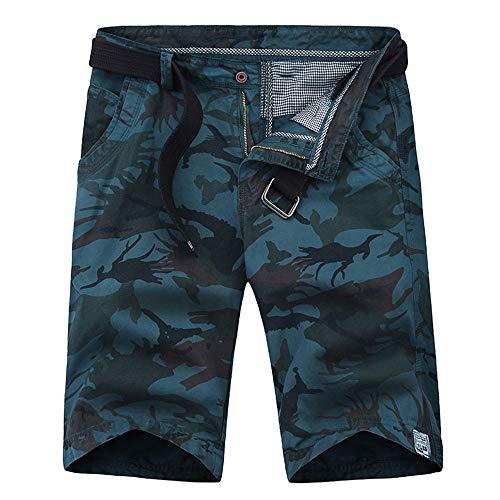 Aiserkly Herren Camouflage Multi-Pocket Cargo Short Arbeitshose Gürtel Hose Kurze Lockere MTB Hosen Feldhose Outdoorhose -