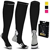 Compression Socks For Men and Women - 20-30mmhg Best Graduated Athletic Fit for Running, Shin Splints, Varicose veins, Maternity Pregnancy, Flight Travel, Nurses Work. Boost Performance, Anti Fatigue, Recover Faster (S/M (Women 4-6.5 / Men 4-8) PAIR, Black & Grey)