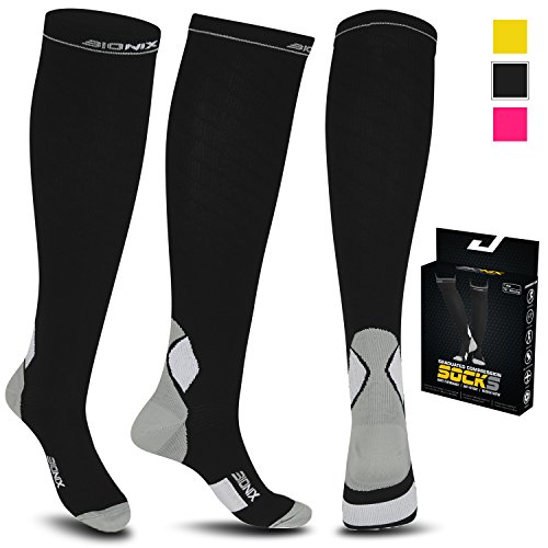 Compression Socks For Men and Women - 20-30mmhg Best Graduated Athletic Fit for Running, Shin Splints, Varicose veins, Maternity Pregnancy, Flight Travel, (L/XL (Women 5.5-13 / Men 7-13.5) PAIR, Black & Grey)