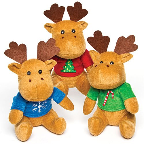 Baker Ross Reindeer Jumper Plush Pals (Pack of 3) For Kids Stocking Fillers and Gift Ideas