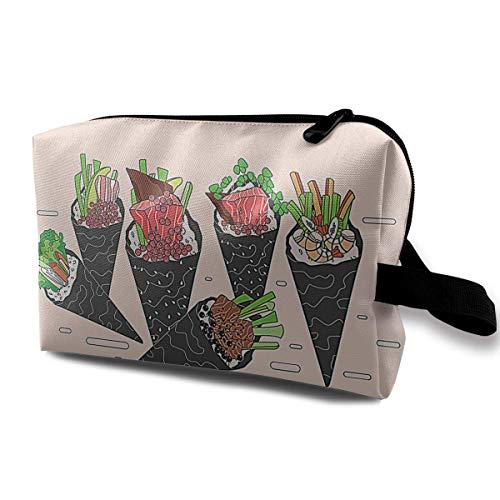 Temaki Illustration Portable Travel Makeup Bag,Storage Bag Portable Ladies Travel Square Cosmetic Bag