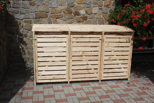 Mülltonnenbox für drei 240 Liter Tonnen in Holz Natur