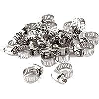 Schlauchschelle - TOOGOO(R) Einstellbare 6-12mm Bereich Schneckengetriebe Schlauchschellen 20 Stueck Silber Ton