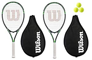 2 x Wilson Tour Tennis Rackets + 3 Tennis Balls RRP £110 Review 2018