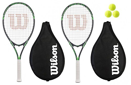2 x Wilson Tour Tennis Rackets + Covers With Strap + 3 Tennis Balls RRP £110