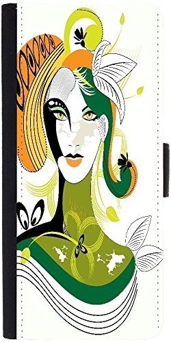 Snoogg Colorful Abstract Woman Wih Green Leaf Designer Protective Phone Flip Case Cover For Lenovo Vibe X3