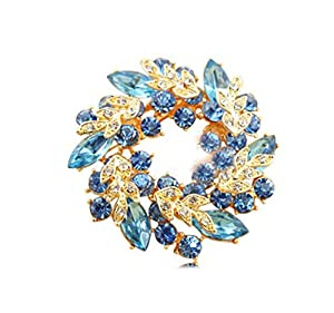 Domire Ladies Girls Golden Plated Flashing Rhinestones Crystals Bauhinia Flower Chinese Redbuds Brooches Corsage Pin Clips Suitable for Variety Clothes and Any Occasions