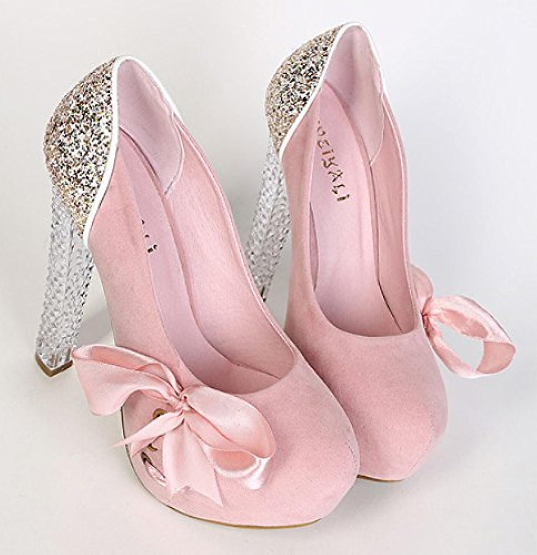 Los zapatos de tacón alto singles femeninos_bold de tacón alto de singles femeninos zapatos de raso cinta 亮 cosido...