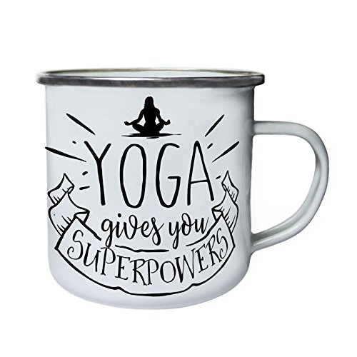 38cc2f88a6e Yoga Gibt Dir Supermächte Retro, Zinn, Emaille 10oz/280ml Becher Tasse t805e