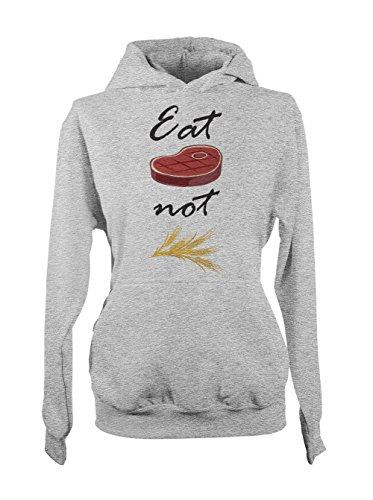 Eat Meat Not Wheat Amusant Sarcastic Food Cooking Baker Femme Capuche Sweatshirt Gris