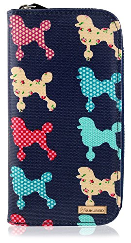 Kukubird New Girls / Ladies Large Chihuahua Poodle Pattern Purse Wallet - Dark Blue