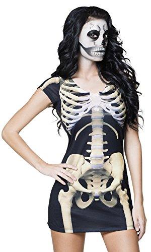 Halloweenia - Damen Skelett Kleid, Kostüm, Halloween, Karneval, Schwarz, Größe - Schwarz Halloween-make-up Katze Gesicht
